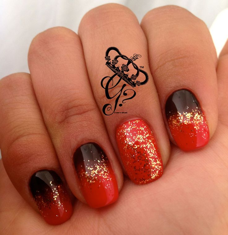 Red, black and gold ombre nail art by G's Nails N' Creations ...