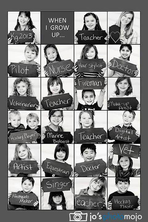 Tolle Idee für eine Deko im Klassenzimmer - Foto von jedem Kind mit späterem Berufswunsch
