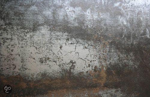 Behangwand roest woonkamer. Dutch digiwalls Behang Due Concrete fotobehang.