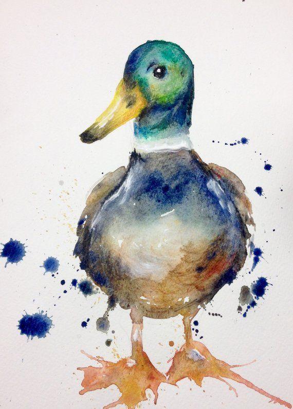 Boldpaintcolor Watercolour Painting Original Mallard Country Kitchen Puddle Paints Print Duck Gift Artmallard Duc Art Painting Art Watercolor Bird