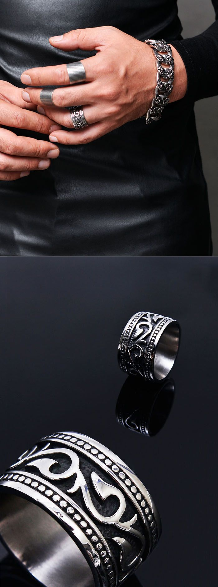 accessories rings stainless steel tribal engrave