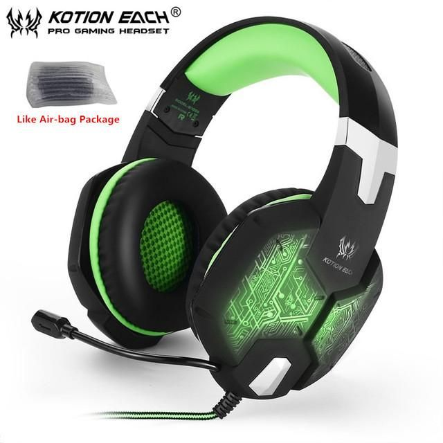 G1000 Deep Bass Gaming Headphone Stereo Surround Over Ear Headset 3.5mm+USB Headphones With Mic LED Light For PC Gamer