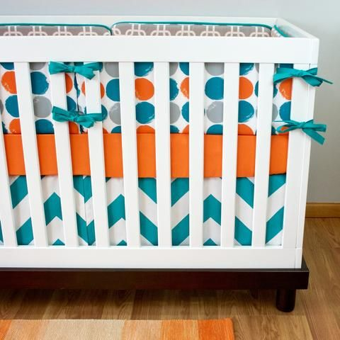 We are in love with this aqua and orange modern crib bedding. You can't go wrong with a confetti dot crib sheet and aqua chevron crib skirt. *SET INCLUDES CRIB SHEET AND CRIB SKIRT AS SHOWN*