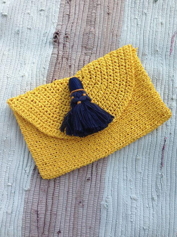 Yellow Boho Clutch Bohemian Style clutch Mustard Summer Etno Bag Pompon Handbag