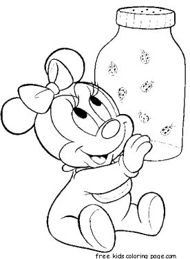 printable disney characters baby minnie mouse coloring pages - Disney Baby Minnie Coloring Pages