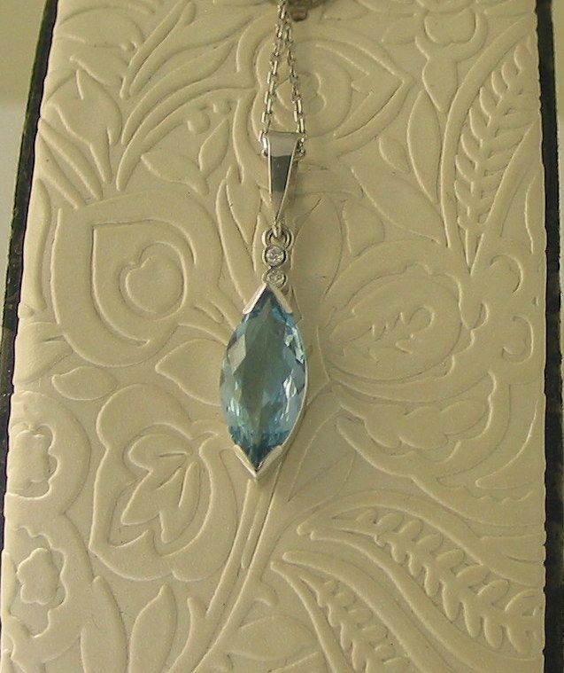 18ct White Gold Marquise Aquamarine (2.80ct) and Diamond Pendant by Dale Humphries - $3,200-