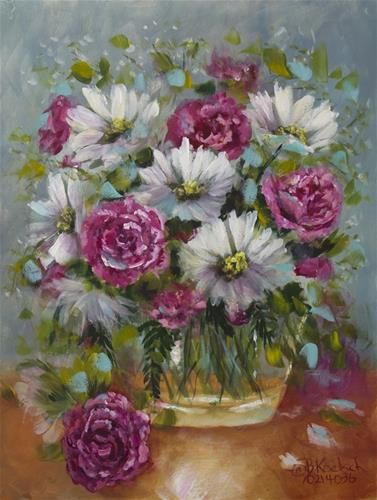 "Daily Paintworks - ""Carnations and Daisies"" by Bobbie Koelsch"