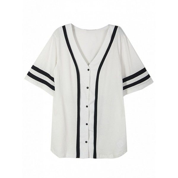 Choies White Button Front Number Print Back Boyfriend Baseball T-Shirt ($23) ❤ liked on Polyvore featuring tops, t-shirts, shirts, white, boyfriend t shirt, white boyfriend tee, button front tops, pattern t shirt and white tee