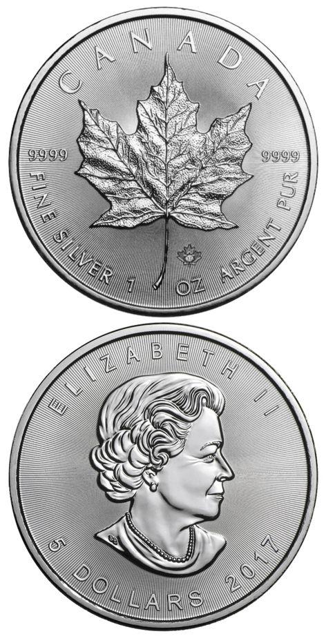 Der Maple Leaf 2017 zählt zu den beliebtesten Silbermünzen weltweit. Seit kurzer Zeit Verfügt er über spezielle Lasergravuren als fälschungssicheres Sicherheitsmerkmal. Der Maple Leaf Silber 2017 ist 1 oz (Unze) schwer und hat ein Feingehalt von .9999 Silber. Hier kaufen.