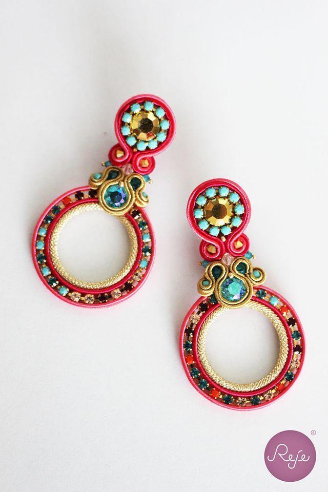 Soutache jewelry, soutache earrings, circle earrings, crystal earrings…