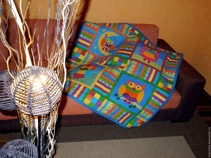 Купить лоскутное покрывало для детей СОВЯТА 2 плед детский - лоскутное покрывало, лоскутные покрывала