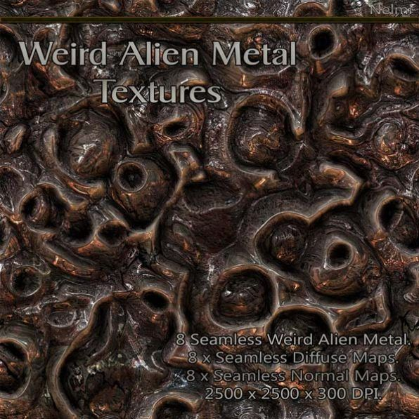 8 Seamless Weird Alien Metal Textures with Normal and Diffuse Maps.  – A set of 8 highly detailed Weird Alien Metal Textures that tile seamless including Normal and Diffuse Maps(seamless).  Perfect for any sci-fi, Armour, Weapons, Futuristic, Spaceships or Metal Surfaces.