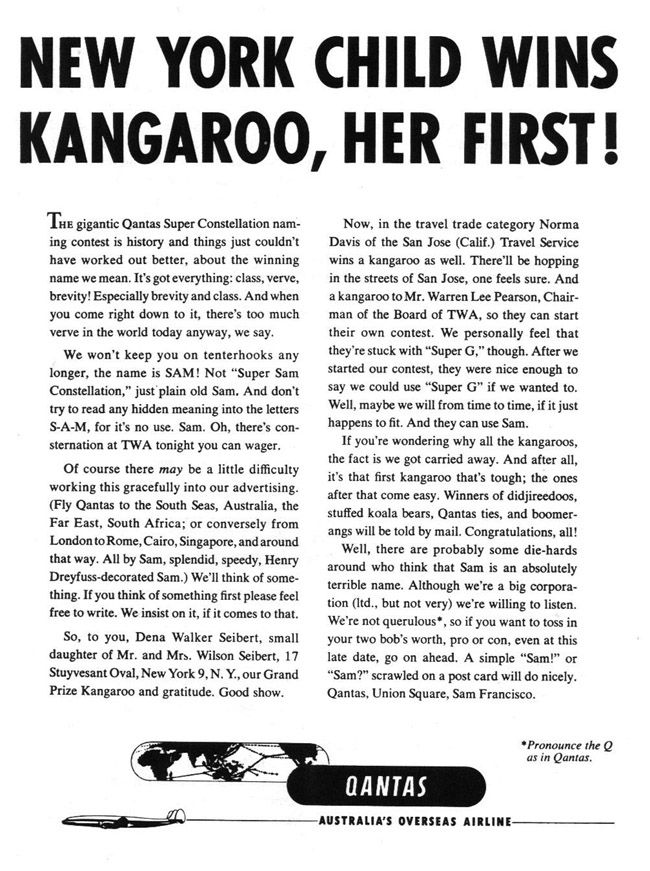 "The much anticipated results of the competition, featuring one of the greatest advertising headlines of all time: ""New York girl wins kangaroo, her first!"""