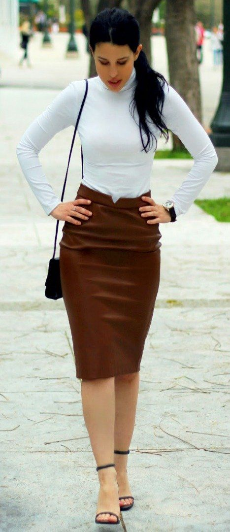 White turtleneck + brown hobble skirt