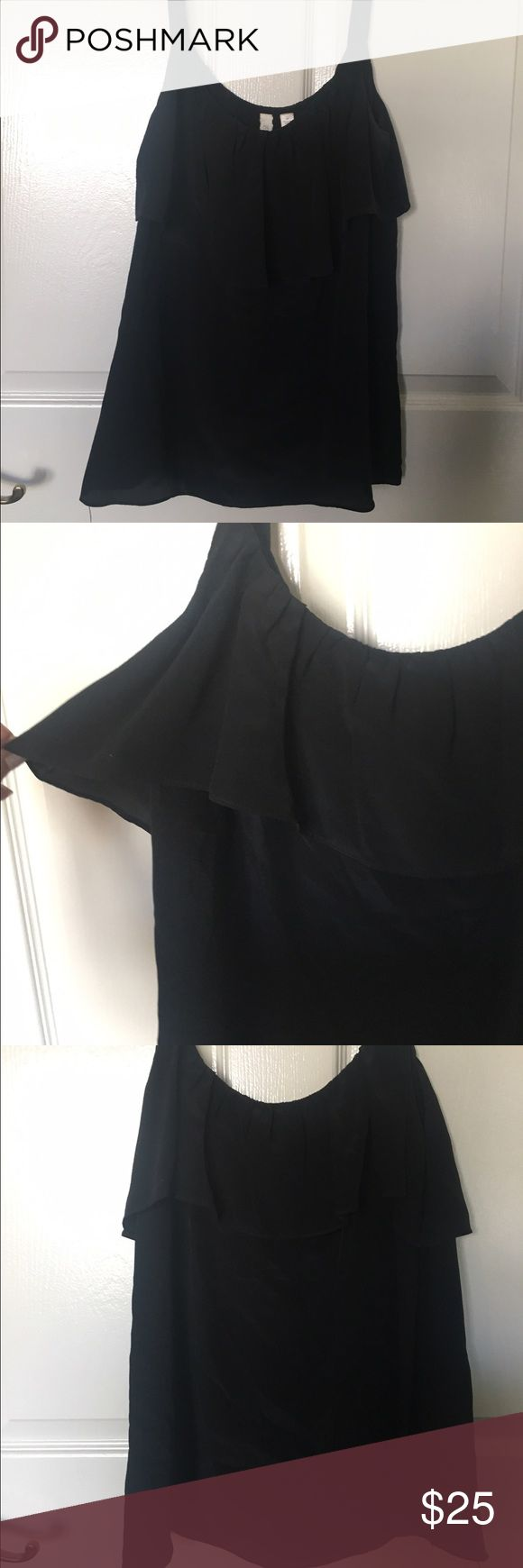Anthropologie Eloise Black Silk Tank Top Excellent condition, wider straps, beautiful ruffle detail Anthropologie Tops Tank Tops
