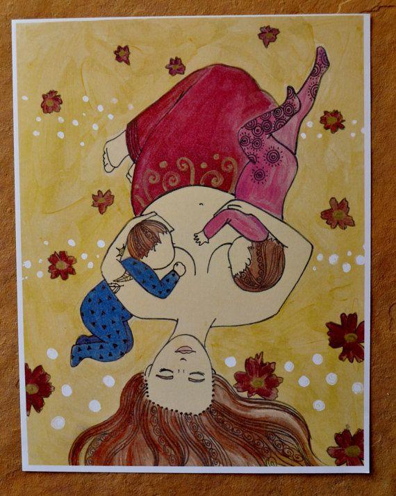 TANDEM// 8.5 x 11 original art print/ nursing/ breastfeeding art/ mothering art/ gift for new mom/ nursery art/ nursery decor/