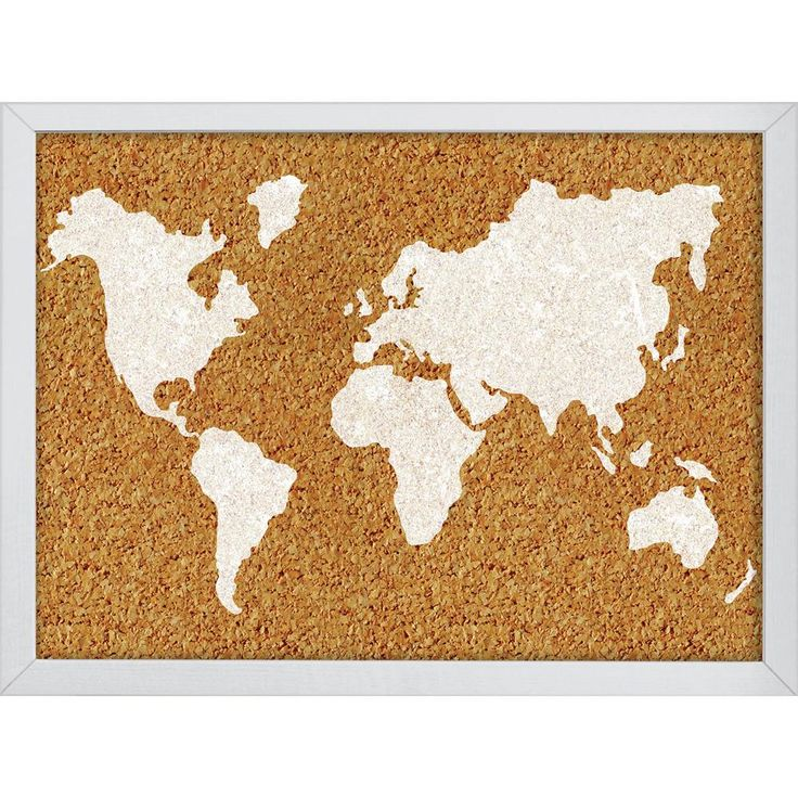 Designed for the world traveler, this contemporary cork board comes complete with a map of the world within its frame. Hang pictures, concert tickets, friendly reminders, daily motivation and more on this stylish organizational tool that will have you dreaming of your next adventure. Simply hang from a hook or nail to install. Cork boards measure 23.5-in wide x 17-in high and are 1in thick. Includes 2 coordinating push pins. Cork boards are a stylish way to stay organized. #art #dorm #decor…