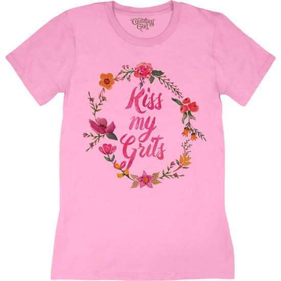 Women's Country Girl Kiss My Grits Floral Tee
