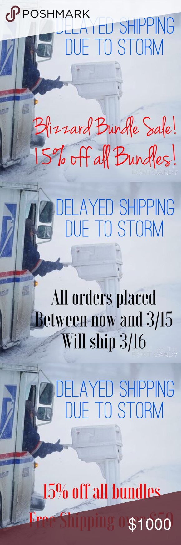 Blizzard Bundle Sale & Delayed Shipping Looks like my area may have some intense weather which will cause a delay in me shipping out orders. So...I thought....let's have a SALE. 15% off all bundles. Free Shipping on orders over $50 (total must be over $50 after Bundle discount) Just create bundle (discount will automatically be calculated, if your total is over $50, click the offer button and offer $7 less than total and I'll accept. All orders ship Thursday 3/16. Other