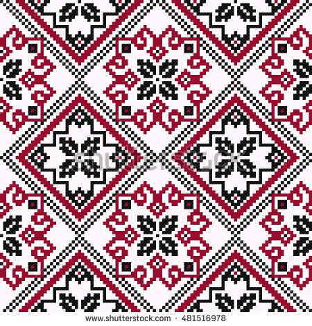Ethnic Ukrainian geometric broidery in hues of black and red on the light pink background, seamless pattern