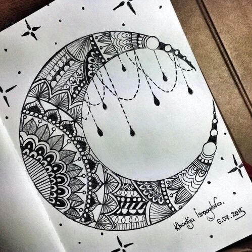 art drawing and moon image zentagles mandalas