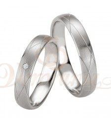 Ασημένιες βέρες γάμου με διαμάντι - breuning - 8073-8074