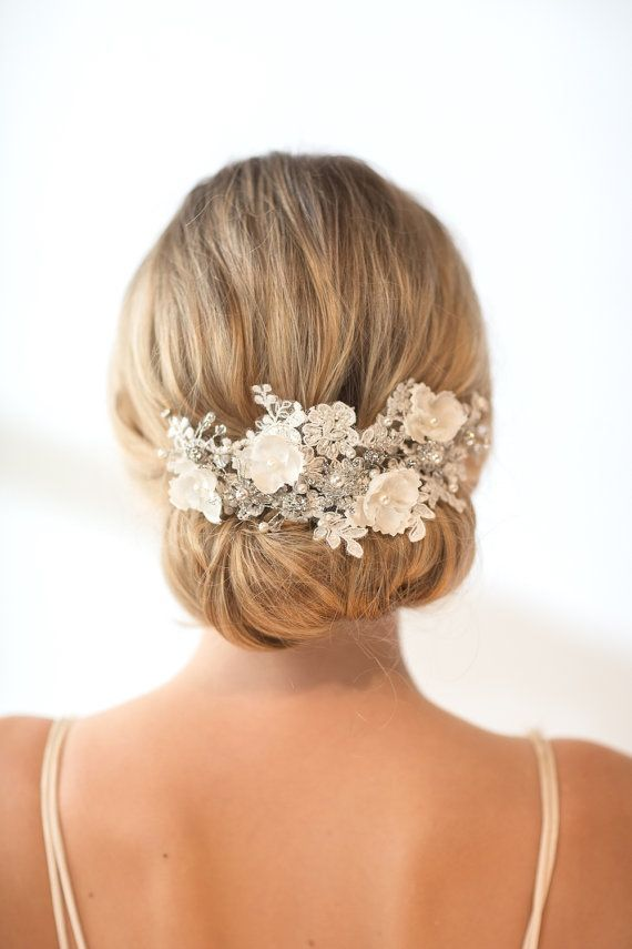 Wedding Lace Head Piece,  Pearl Beaded Lace Vine, Wedding Headpiece, Wedding Hair Accessory