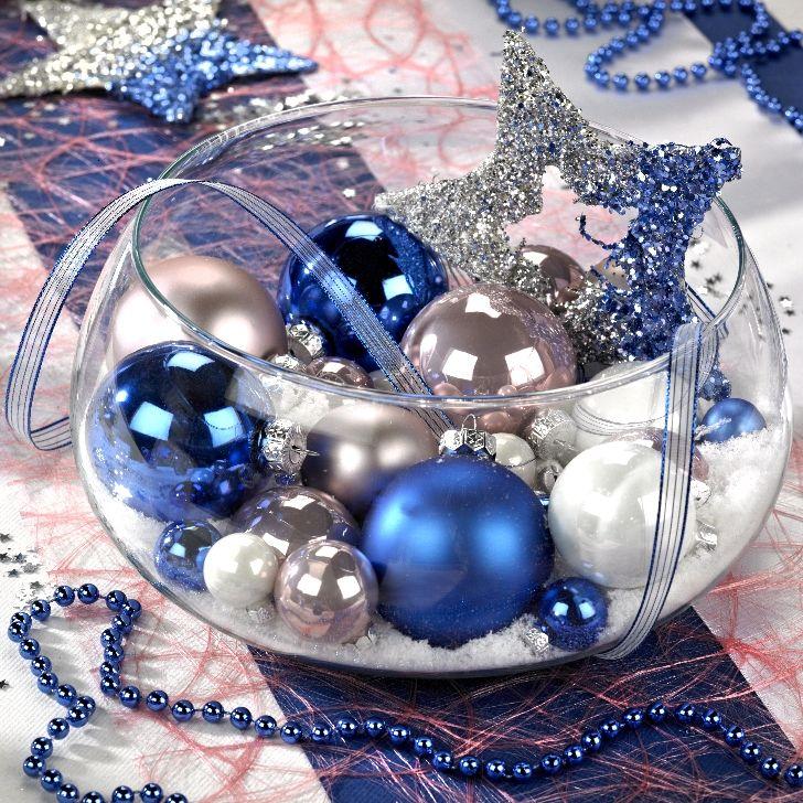 décoration de table de Noël blanc et bleu