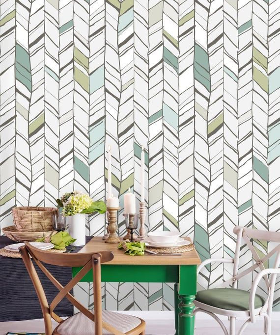 Removable Wallpaper Peel And Stick Geometric Mural Self Etsy Removable Wallpaper Wallpaper Vintage Wallpaper