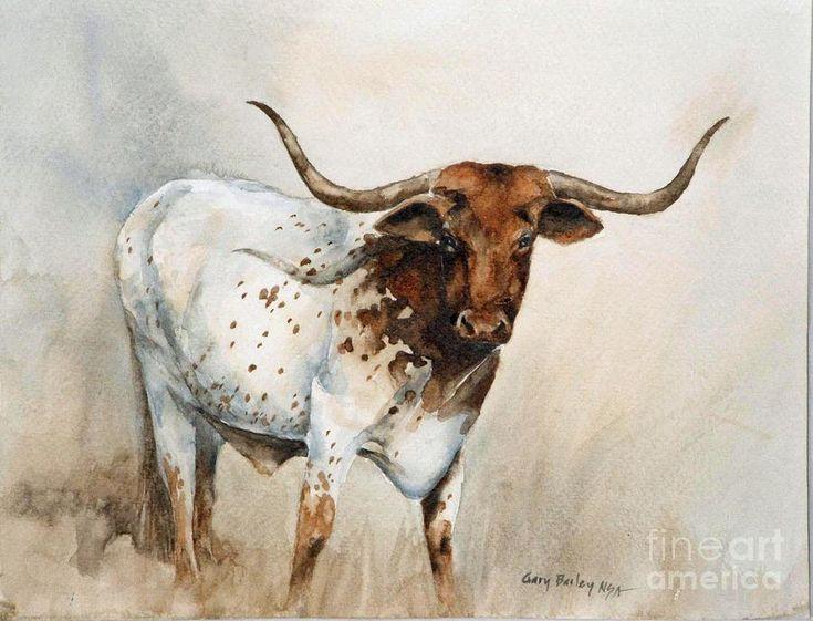 Texas Longhorn Painting  - Texas Longhorn Fine Art Print