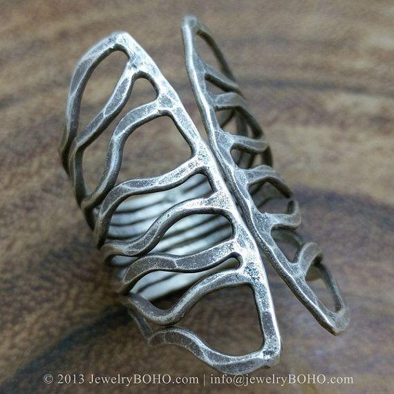 BOHO 925 Silver Ring-Gypsy Hippie Ring,Bohemian style,Statement Ring R331 JewelryBOHO,Handmade sterling silver BOHO Tribal printed ring