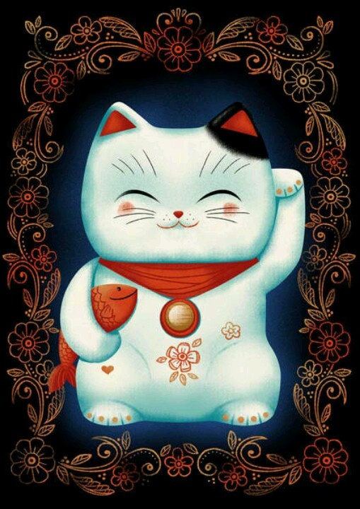 Lucky Cat Canvas Print by Cat Finnie