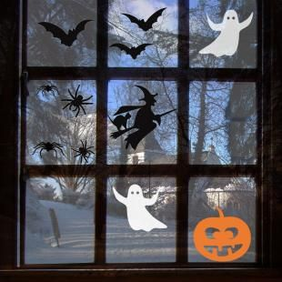halloween window decals stickers or clings - Halloween Window Decals