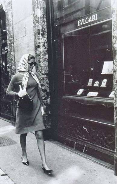 Petit déjeûner at Bulgari  Virna Lisi in front of the Bulgari boutique on via dei Condotti, Rome, 1971 La Lisi appeared in Le Beau Monstre directed by Sergio Gobbi, I befriended Sergio and wife Nicole now Coullier in Paris