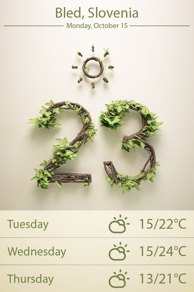 Weather app with photorealistic numbers that reflect the season.