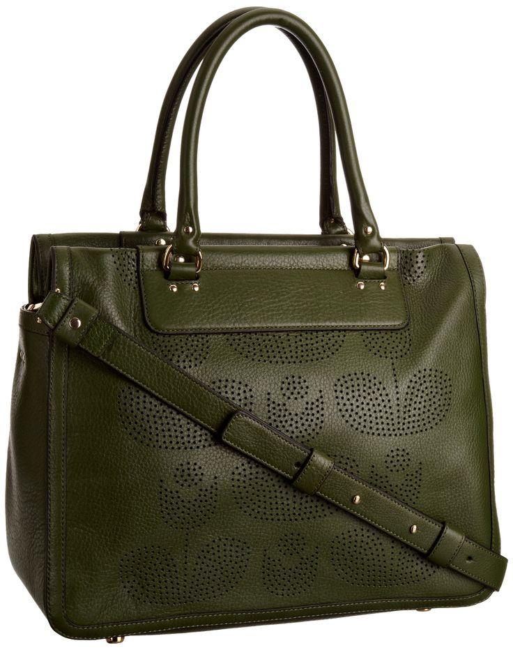 Orla Kiely Women's Punched Wallflower Leather Print Ella Handbags Fern 12AB-PWF039 Medium