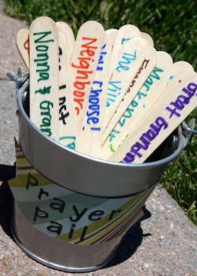 Prayer Pail...Maybe good for Youth Group Small Group setting or Camp/Retreat Devotions...All you need is: -large craft sticks -a bucket (or you can use an empty tin can, flower pot, mason jar...whatever really) -scrap paper -markers -stickers -scissors -double sided tape -ribbon