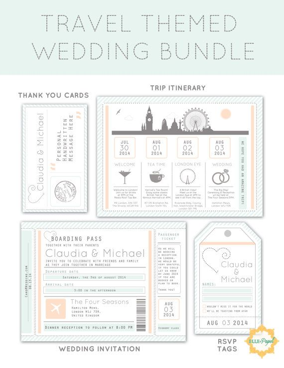 Destination Wedding Invitation Package: Printable Destination Wedding Invitation, RSVP Card, Itinerary, and Thank You Cards on Etsy, $37.00