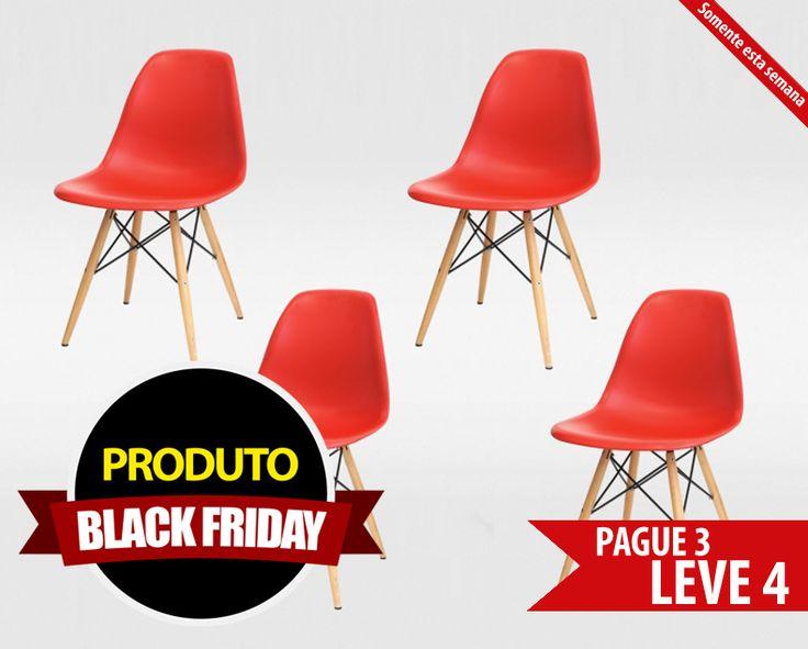 Conjunto de Cadeiras de Jantar Eames Madeira Vermelha