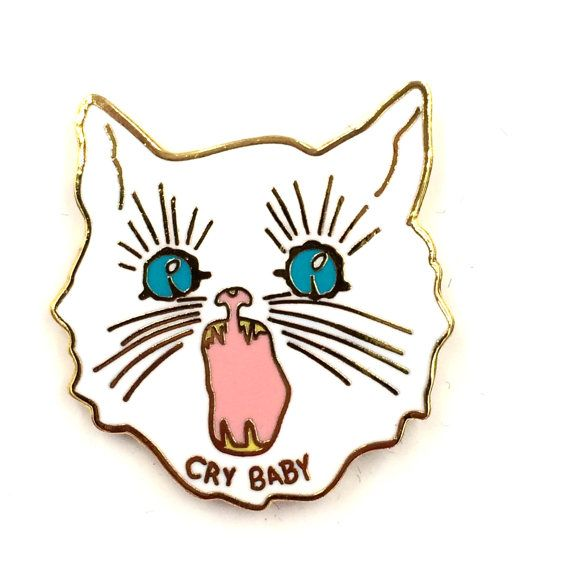 CRY BABY Enamel Pin in White