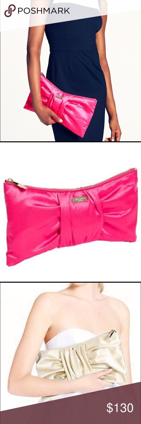 """NWT Kate Spade Silka Bow Clutch Fuchsia Pink Bag Brand new with tags but accidentally ripped off the tag while photographing.  Tag is now not attached and it inside the bag.  Fuchsia.  Dustbag included.  Features Handheld clutch crafted in luxe satin Featured in a bow shape that's gathered at the center. kate spade new york light gold staple on front. Zip top closure. Lined interior with a slip pocket. 6''h x 13''w x .5""""d kate spade Bags Clutches & Wristlets"""