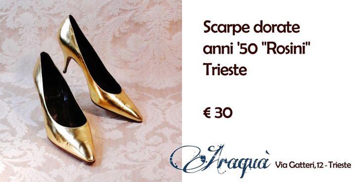 """Scarpe dorate anni '50 """"Rosini"""" Trieste € 30"""