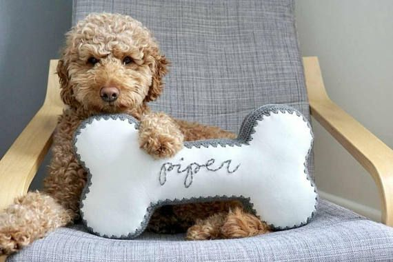 Dog Bone Pillow Made to Order Faux Leather & Crochet