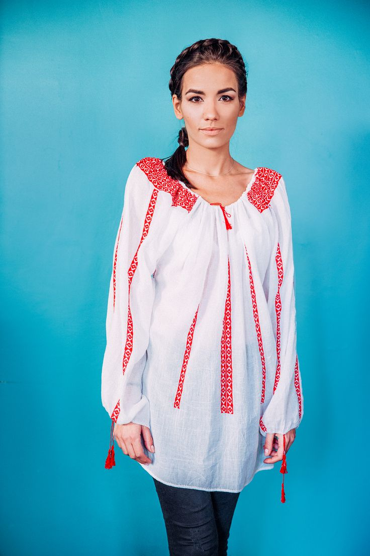 100% handmade Romanian blouse, embroidered on the sleeves and front  with red thread.  Price: 450 lei (100 EUR) Details on:  facebook.com/singularRO singularwear@yahoo.com #limitededition #readytowear #romanianpatterns #embroidery #singular #fashion