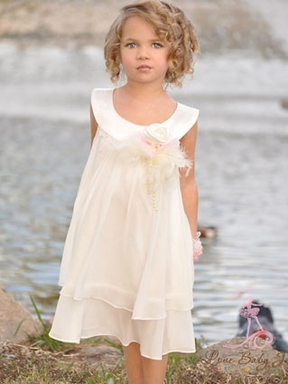 The Perfect Flower Girl Dress featuring layers of chiffon and a satin bib neckline. Custom Made to Order by Dimples & Dandelions
