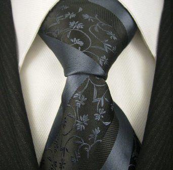 Neckties by Scott Allan, Black and Slate Blue Floral Neckties