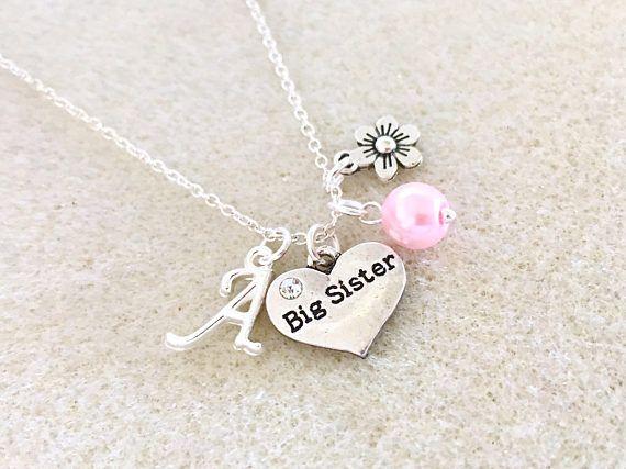 Big Sister Gift Locket Necklace For Sister Pregnancy Reveal