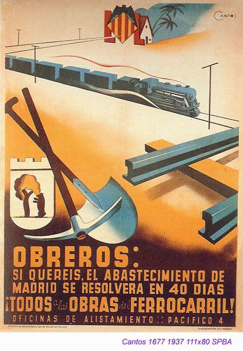 """Spain, 1937. Civil War Poster. Author: Cantos. Obreros: si queréis el abastecimiento de Madrid se resolverá en 40 días. Todos a las obras del ferrocarril. Oficina de Alistamiento. Pacífico 4."""" SPBA, Madrid, 1937."""