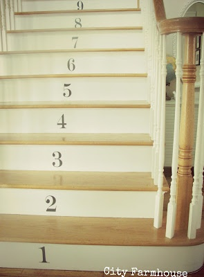 Numbered staircase with decals.  Adds a fun & whimsical touch to traditional stairs. Love it!