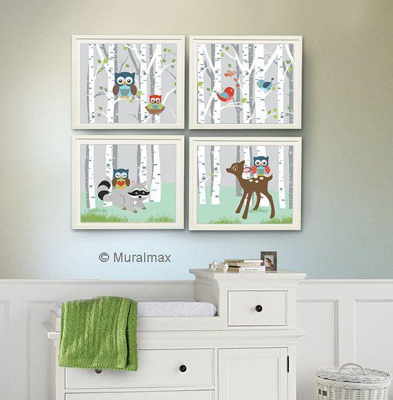 Art de hibou - chouette déco - Art de pépinière pour le décor de pépinière Boy, Kids Room Decor de pépinière, hibou, ensemble de 4 8 x 10, Woodland Animals, bouleau, chouette